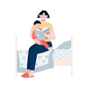 Mutter liest ein buch, in dem ihr sohn mutter und sohn gemeinsam märchen lesen