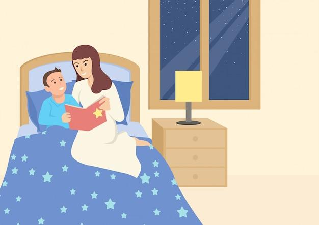 Mutter liest ihrem kind vor dem schlafengehen ein buch vor