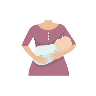 Mutter mit einem kleinen jungen. vektor-illustration