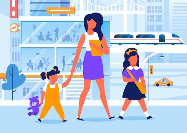 Mutter mit kindern auf weg-flacher vektor-illustration
