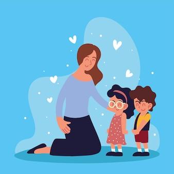 Mutter mit kleinen kindern