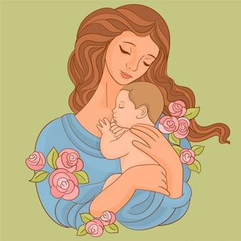 Mutter mit sohn und blumen