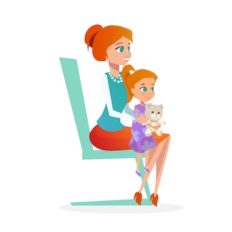 Mutter mit tochter beim kinderarzt-termin.