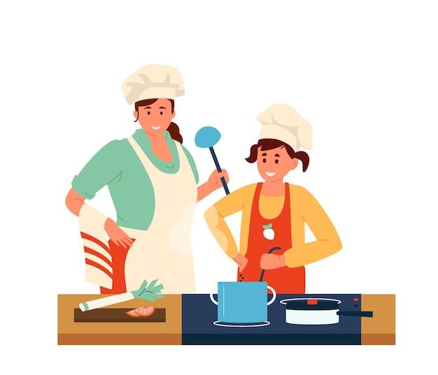 Mutter mit tochter in schürzen und chef hüte mit schöpflöffel, die abendessen zusammen machen.