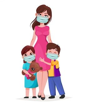Mutter mit tochter und sohn in medizinischen masken
