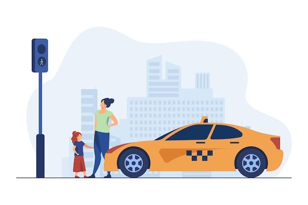 Mutter mit tochter wartet auf taxi. kind, auto, verkehr flache vektorillustration. transport und urbaner lebensstil