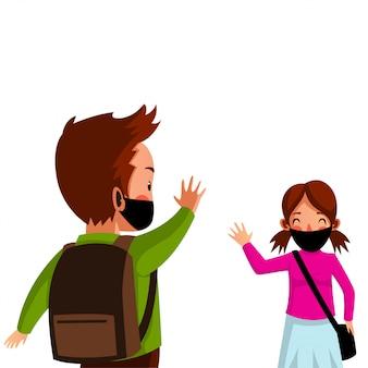 Mutter schickte ihren sohn wieder zur schule, vergaß aber nicht, eine maske zu tragen