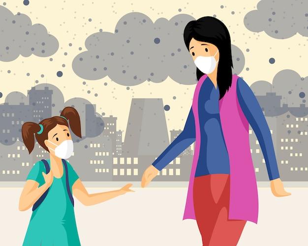 Mutter, tochter, die masken flache illustration trägt. frau mit dem kleinen mädchen, das im industriegebiet geht und smog- und staubkarikaturfiguren atmet. stadtluftverschmutzung, pflanzenemissionen städtische probleme
