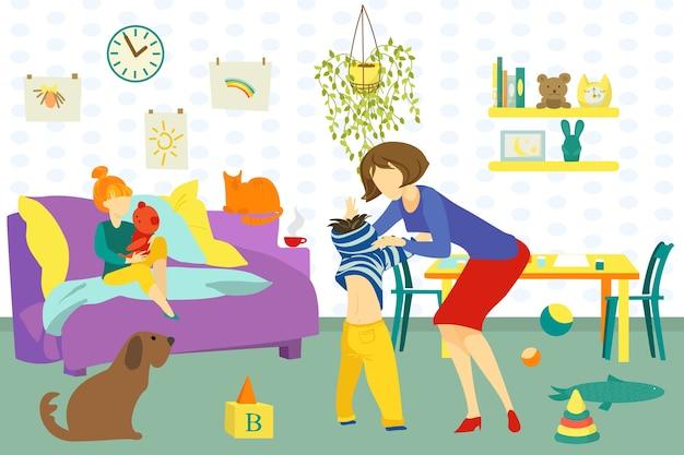 Mutter, tochter und sohn glücklich zusammen zu hause drinnen illustration