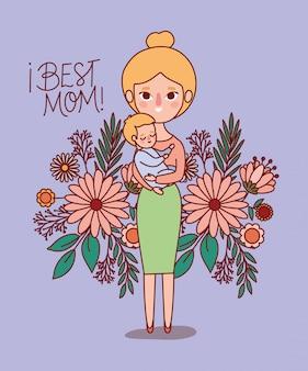 Mutter und baby cartoon mit blumen und blättern