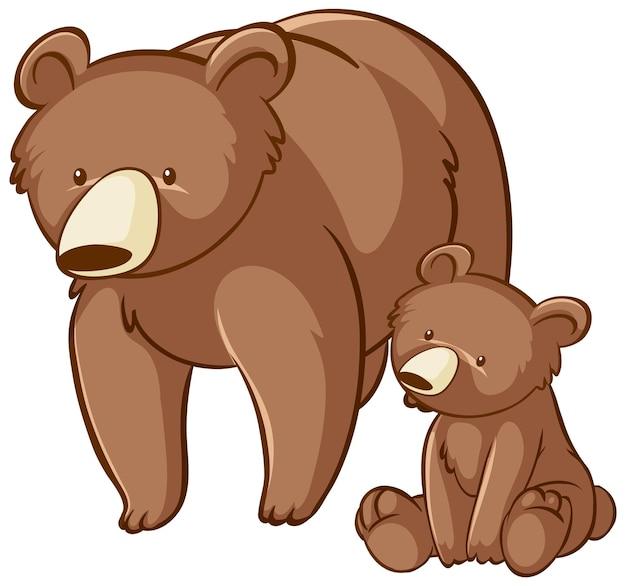 Mutter und baby grizzlybär cartoon auf weißem hintergrund