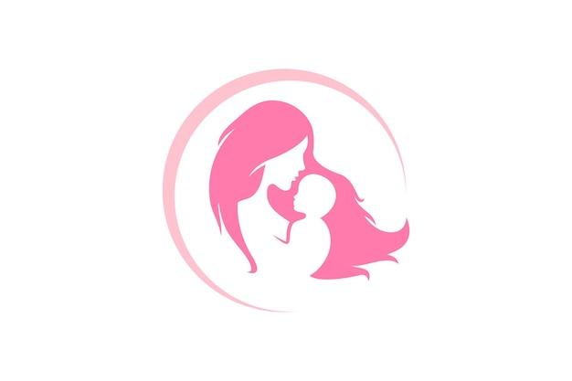 Mutter und baby-logo-vektor-symbol. mama umarmt ihre kinderlogoschablone. Premium Vektoren