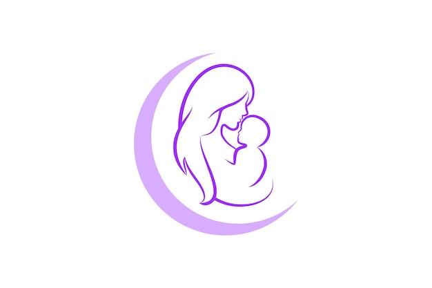 Mutter und baby-logo-vektor-symbol. mama umarmt ihre kinderlogoschablone.