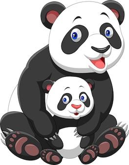 Mutter und baby panda