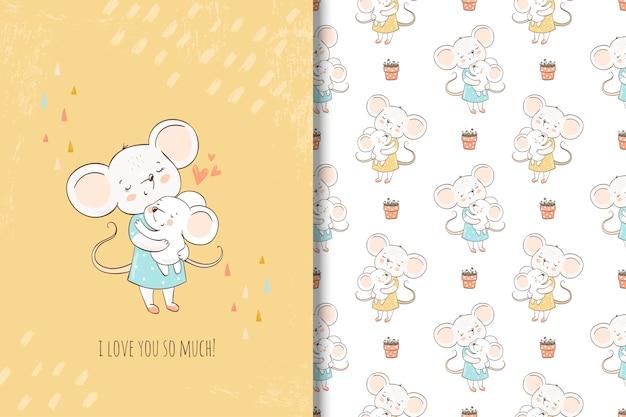 Mutter und baby süße mäuse. die beste mutter aller zeiten. illustration und nahtloses muster