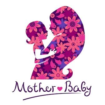 Mutter- und babysilhouetten