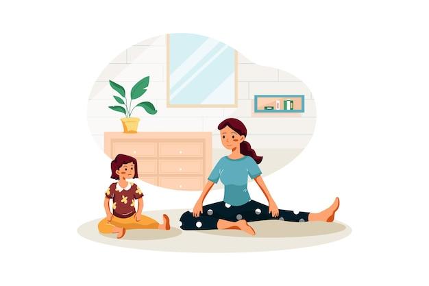 Mutter und ihr mädchen machen yoga