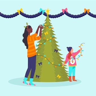 Mutter und kind, die weihnachtsbaum verzieren