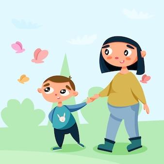 Mutter und kind gehen im frühling im park spazieren und beobachten schmetterlinge