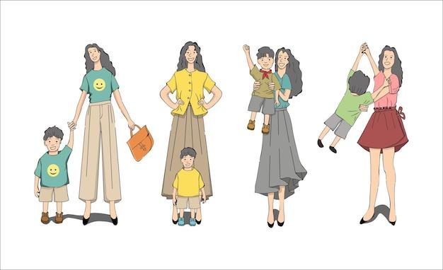 Mutter und kind illustrationsset
