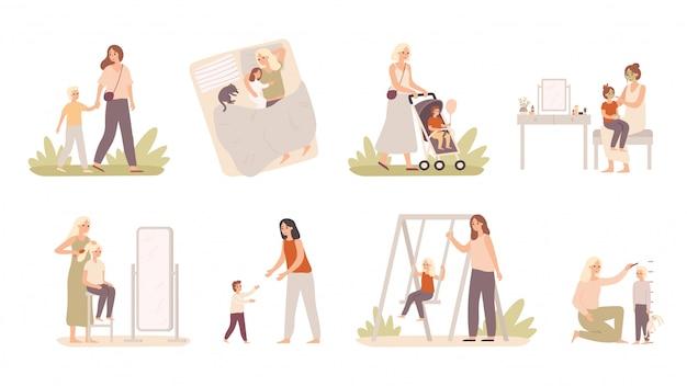 Mutter und kind. mutter spielen mit tochter und sohn, mutterschaftsliebe und glücklichen kindervektorillustrationssatz