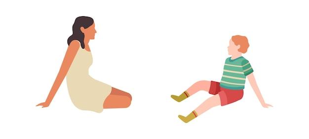 Mutter und kind sitzen und reden im freien. mutter und sohn beim picknick zusammen im park, glückliche junge elternkarikatur bunte charakterbeziehungen elternschaftskonzept, flache vektorgrafik isoliert