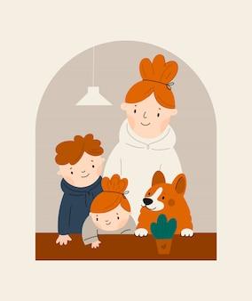 Mutter und kinder, die fensterzeichentrickfiguren suchen. bleiben sie zu hause, quarantänekonzept