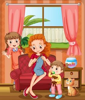 Mutter und kinder im wohnzimmer