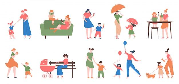 Mutter und kinder. junge glückliche mutter und kinder, tochter und sohn, die zusammen spielen, lesen und kochen, mutterschaftsliebesillustrationssatz. mutterschaft tochter, frau kind glück zusammen