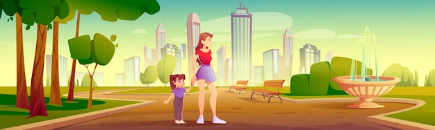 Mutter und kleine tochter gehen im stadtpark spazieren