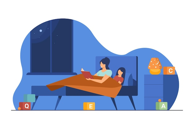 Mutter und kleine tochter lesen buch im bett. gutenachtgeschichte, märchen, mutter flache illustration
