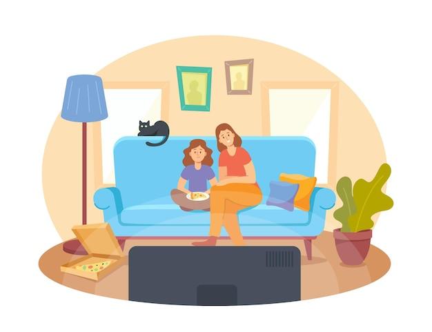 Mutter und kleine tochter mit pizza und katze sitzen auf dem sofa und schauen sich einen film an. heimkino-konzept mit glücklichen familiencharakteren. leute sehen fernsehsendungen oder filme an. cartoon-vektor-illustration