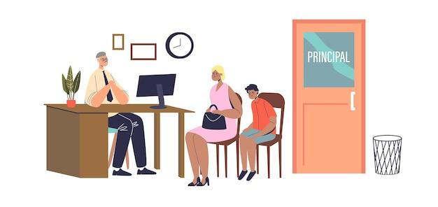Mutter und sohn besuchen das hauptbüro der schule. ernster schulleiter, der mit elternteil des schlechten schülers spricht fehlverhalten von kindern beim klassenkonzept. flache vektorillustration der karikatur