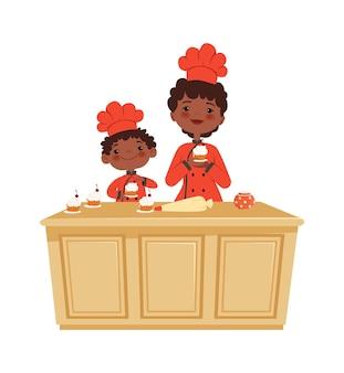 Mutter und sohn kochen. kuchenzeit, bäckerei werkstatt. isoliertes afroamerikanisches kind und frau, die muffinvektorillustration machen