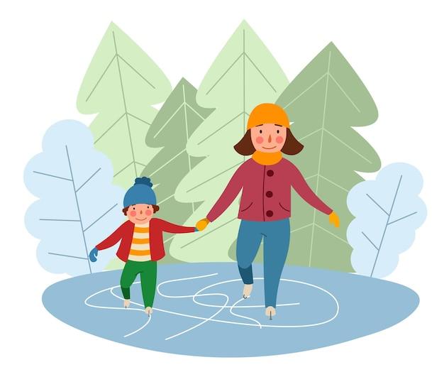 Mutter und sohn laufen vor dem hintergrund des waldes auf dem eis schlittschuh wintersport v