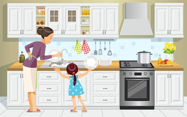 Mutter und tochter beim abwasch.