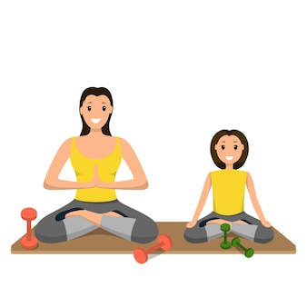 Mutter und tochter beteiligt sport im yoga engagiert