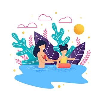Mutter und tochter, die in der see- oder ozeankarikatur schwimmen