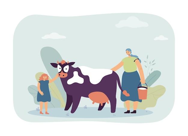 Mutter und tochter, die kuh melken. frau mit eimer milch, mädchen, das haustier mit flacher vektorillustration des euters streichelt