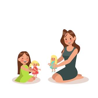 Mutter und tochter, die puppe spielen