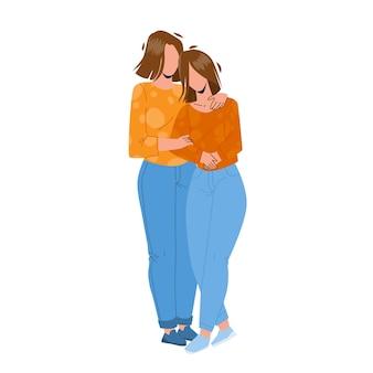 Mutter und tochter, die zusammen vektor umarmen. mutter und tochter umarmen sich mit liebe, familienharmonie und mutterschaft. charaktere mama und mädchen beziehung flache cartoon illustration