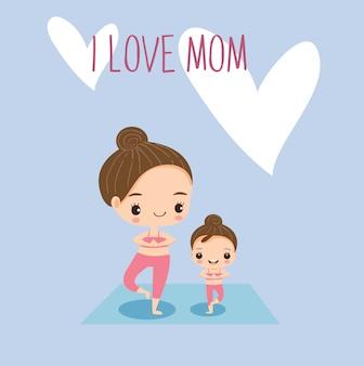 Mutter und tochter, die zusammen yoga tun