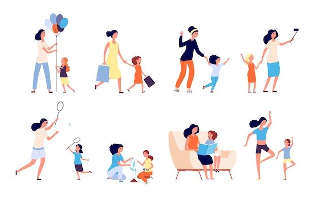 Mutter und tochter. glückliche mutter verbringen zeit mit kind. frau und mädchen spielen, lesen und spielen sport, machen yoga. isolierter vektorsatz der mutterschaft. illustration mutter mit tochter, glückliche frau zusammen kind