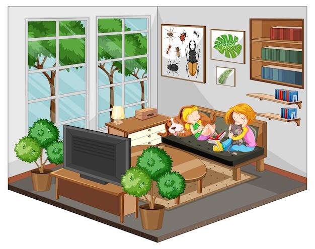 Mutter und tochter im wohnzimmer mit möbeln