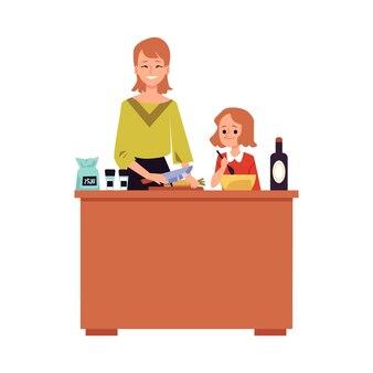 Mutter und tochter kochen zusammen hinter küchentheke