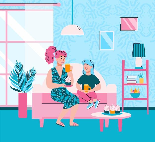 Mutter und tochter machen eine pause zum tee und reden
