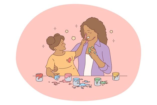 Mutter und tochter, mutterschaft, aktivitäten mit kindern konzept. karikatur der mutter der jungen schwarzen frau