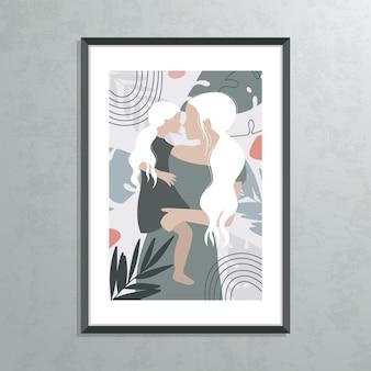 Mutter und tochter silhouette illustration Premium Vektoren