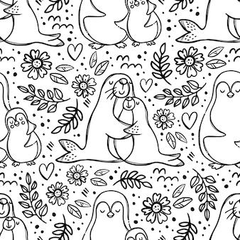 Mutter und tochter umarmen niedliche meerestiere umarmen ihre kinder elterliche beziehung monochromes handgezeichnetes nahtloses muster