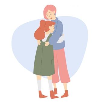 Mutter und tochter umarmen sich.